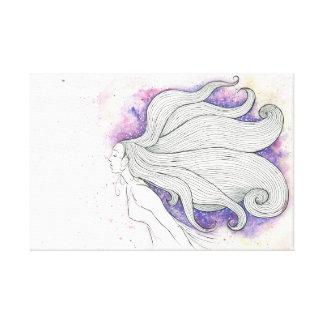 Träumerische Wasserfarbe- und Tintenillustration Galerie Falt Leinwand