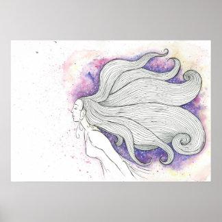 Träumerische Wasserfarbe- und Tintenillustration, Poster
