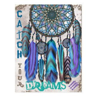 Traumfänger mit einem Magievogel-Türkis versieht Postkarten