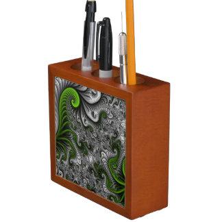 Traumwelt-grüne und graue abstrakte Fraktal-Kunst Stifthalter
