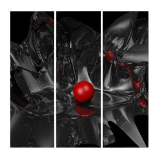 Traumwelt-rote Perle und abstrakte Fraktal-Kunst Triptychon