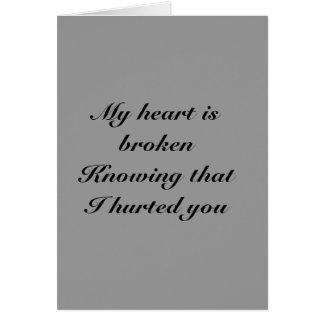 traurig, dass ich Sie Grußkarte hurted