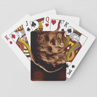 Trauriges Clown-Puppen-Gesicht Spielkarten