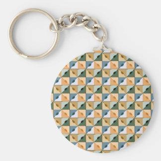 Trendy abstraktes quadratisches Muster Standard Runder Schlüsselanhänger