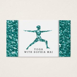Trendy Aqua-Glitter-Effekt-Yoga-Lehrer Visitenkarte