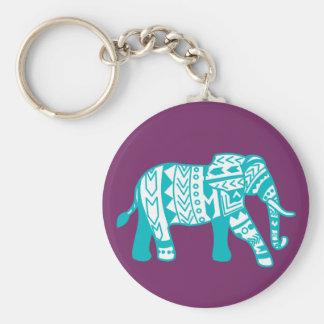 Trendy aquamariner Stammes- gehender Elefant Schlüsselanhänger