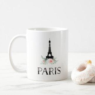 Trendy Eiffel-Turm und erröten rosa Blumen | Paris Tasse