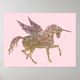 Trendy GoldGlitzer-Scheinunicorn-Pegasus-Pferd Poster