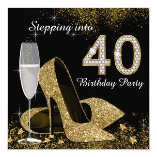 Treten in ein 40 Geburtstags-Party Quadratische 13,3 Cm Einladungskarte