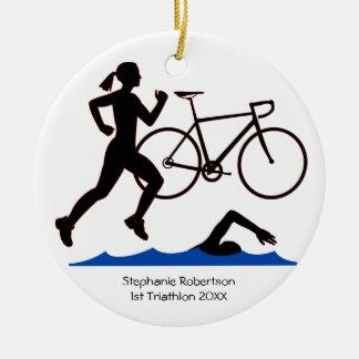 Triathlon-Frau-Andenken Rundes Keramik Ornament