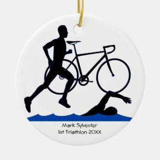 Triathlon-Mannesandenken Rundes Keramik Ornament
