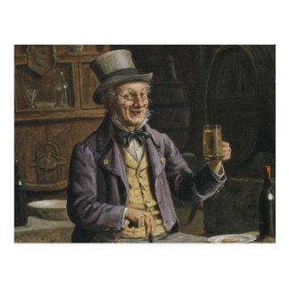 Trinkende Bier-Malerei Postkarte