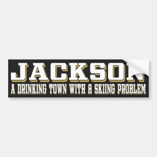 Trinkender u. Ski fahrender Aufkleber Jacksons Autoaufkleber