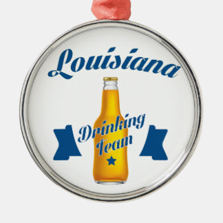 Trinkendes Team Louisianas Rundes Silberfarbenes Ornament