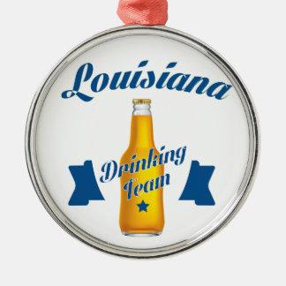 Trinkendes Team Louisianas Silbernes Ornament