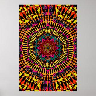 Trippy Plakat: Psychedelische Kaleidoskop-Grafik Poster