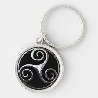 Triskelion Silberfarbener Runder Schlüsselanhänger