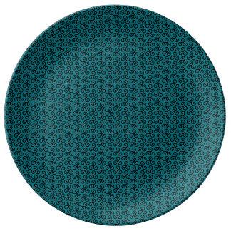Triskell-Sockel schmilzt blau Porzellanteller