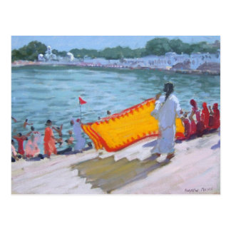 Trocknender Sari Pushkar Postkarte