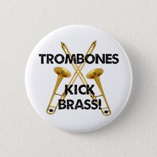 Trombones-Tritt-Messing! Runder Button 5,1 Cm