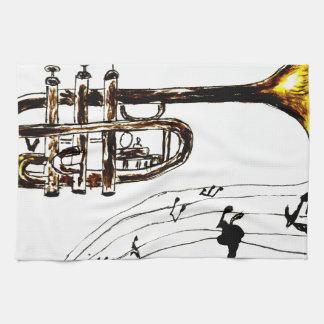 Trompete-einfache Skizze 2 Küchenhandtücher