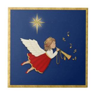 Trompete-Engels-und Weihnachtsstern Kleine Quadratische Fliese