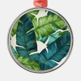 Tropische Banane verlässt ursprüngliches Muster Silbernes Ornament