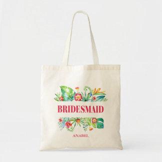 Tropische   Brautjungfern-Hochzeit in Urlaubsort Budget Stoffbeutel