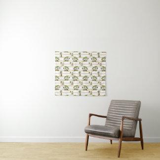Tropische Bretterbude und Palmen Wandteppich