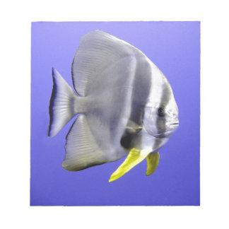 Tropische exotische Fische des Batfish Unterwasser Notizblock