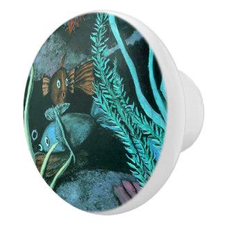 Tropische Fisch-Korallenriff Keramikknauf