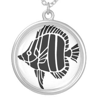 Tropische Fisch-Schwarzweiss-Halskette Halskette Mit Rundem Anhänger