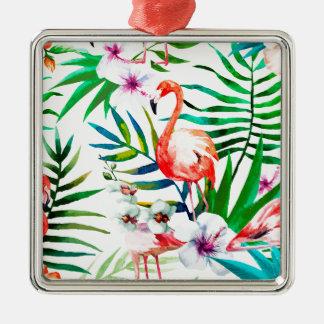 Tropische Flamingokunst Quadratisches Silberfarbenes Ornament