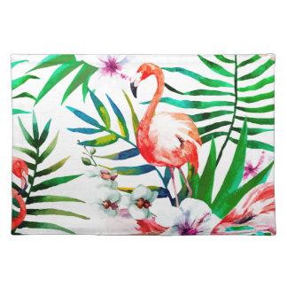 Tropische Flamingokunst Stofftischset