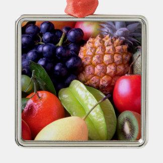 Tropische Früchte Quadratisches Silberfarbenes Ornament