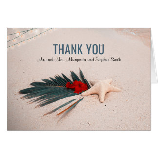 Tropische Hochzeit in Urlaubsort danken Ihnen Karte