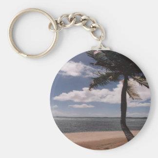 Tropische Insel Standard Runder Schlüsselanhänger