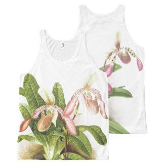 Tropische Ladys Pantoffel-Orchideen-Blumen mit Komplett Bedrucktes Tanktop