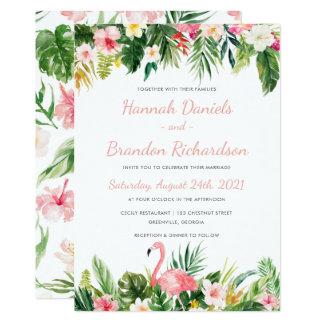 Tropische Palmblatt-Strand-Hochzeits-Einladung Karte