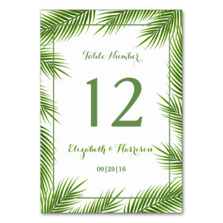 Tropische Palmblatt-Strand-Hochzeits-Tischnummer