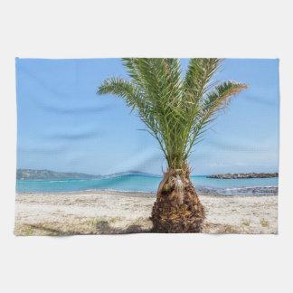 Tropische Palme auf sandigem Strand Geschirrtuch