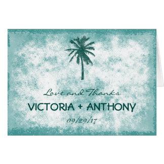 Tropische Palme-Strand-Hochzeit danken Ihnen Mitteilungskarte