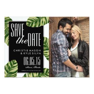 Tropische Palme-Strand-Hochzeit Save the Date Karte
