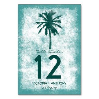 Tropische Palme-Strand-Hochzeits-Tischnummer Karte