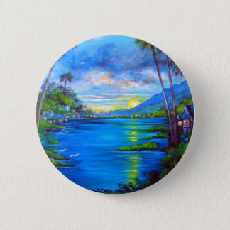 Tropische Palmen blau Runder Button 5,7 Cm