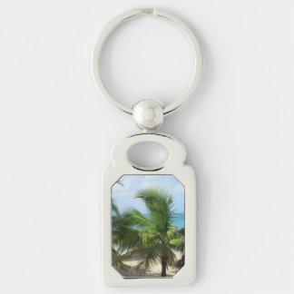 Tropische Palmen Silberfarbener Rechteckiger Schlüsselanhänger