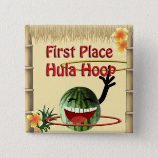 Tropische Party Tiki Hütten-1. Platz Hula Band Quadratischer Button 5,1 Cm