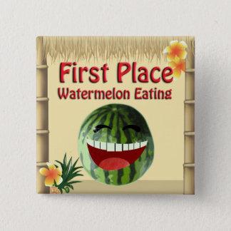 Tropische Platz-Wassermelone Luau Party Tiki Quadratischer Button 5,1 Cm
