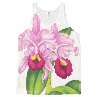 Tropische rosa Orchideen-Blumen-Blumenkunst Komplett Bedrucktes Tanktop
