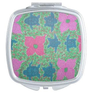 Tropische Schildkröten und Blumen-kompakter Taschenspiegel